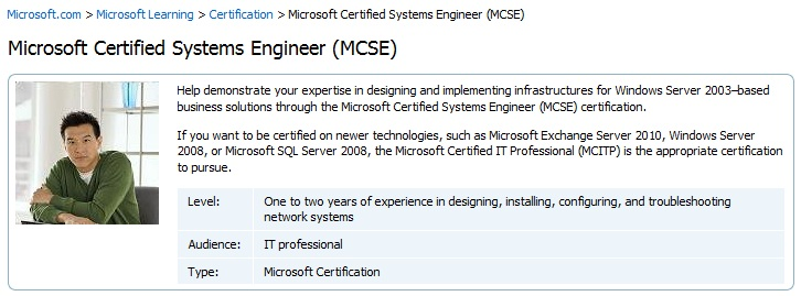 Learn more about training and certification for MCSE